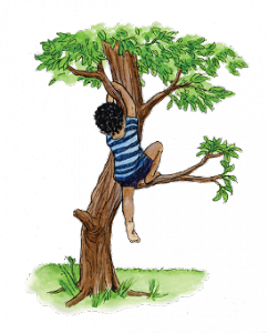 Illustration of a boy climing a tree