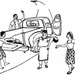 Illustration of woman being carried to a truck for emergency care