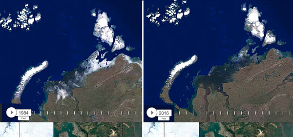 Google Timelapse image of the north coast of Asia. Left Image: 1984, right Image: 2016